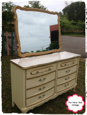 Vintage French Provincial Hollywood Regency Dresser With Mirror
